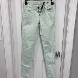 Zara light turquoise pants with zippers!